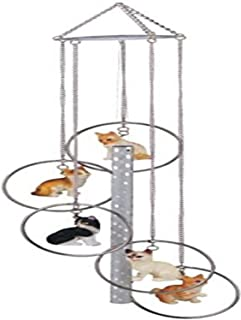 StealStreet 5 Ring Polyresin Charm Cat Hanging Porch Garden Decoration Wind Chime