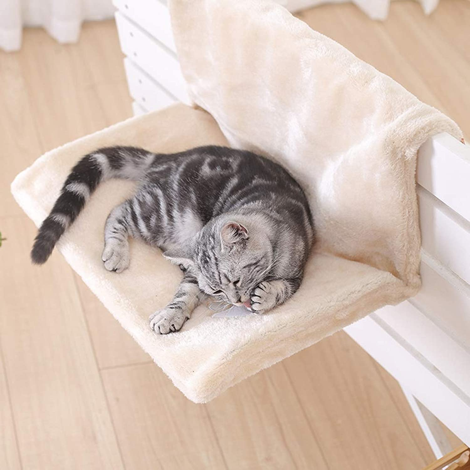 QYQ Pet Kennel Cat Litter Detachable and Warm Comfortable Breathable Cat Hammock Material Wear and Tear Resistant Bite Nest Teddy Pet Bed Hanging on The Railing