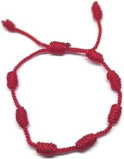 Mystic Jewels – Kabbalah Bracelet – 7 Knots of Red Thread – Unisex – Adjustable – Eye Protection – Good Luck – Good Luck