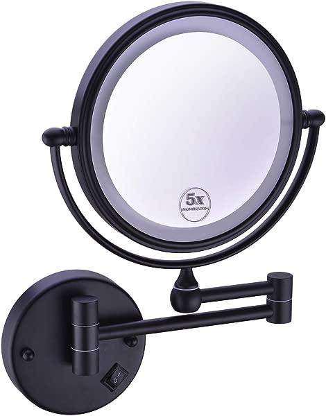 Anpean 8 英寸 LED 照明硬连线壁挂化妆镜 5 倍放大哑光黑色