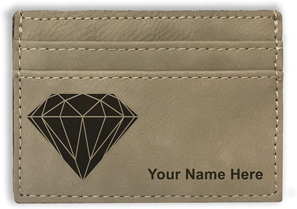 Money Clip Wallet - Diamond - Personalized Engraving Included (Light Brown)