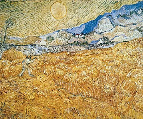 Van Gogh - Campos De Trigo Con El Segador En La Salida Del Sol Reproducción Cuadro sobre Lienzo Enrollado 120X100 cm - Paisaje Pinturas Impresións Decoración Muro
