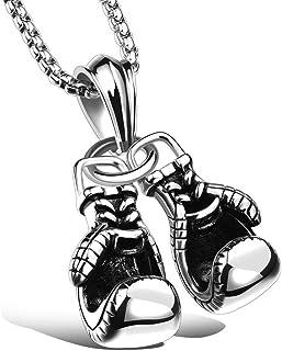 اللياقة البدنية قفازات الملاكمة الرياضية التيتانيوم قلادة قلادة للرجال - الفضة