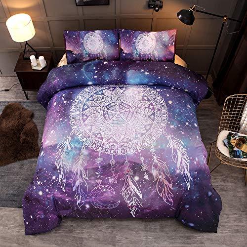 3D Galaxy Traumfänger Sparkling Star Psychedelic Space Duvet Quilt Und Kissenbezug für Kinder, Jungen, Mädchen Bettwäsche-Set (135 x 200 cm)