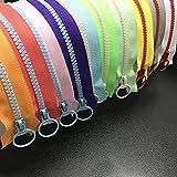 WKXFJJWZC 10 Piezas de Color Mixto 60 cm Aberturas 5# Resina Cierre de Anillo, Cierre de Cremallera, Bricolaje, Costura, Manualidades, Bolsos, Ropa