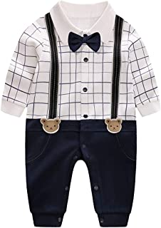 Newborn Baby Boys' Gentleman Romper Clothes Suit Long Sleeve Jumpsuit Outfit with Bow Tie …