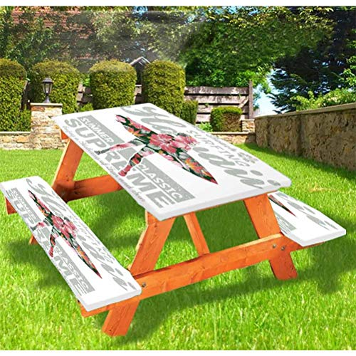 """72"""" Polyester Elastic Edge Fitted Picnic Table Cover Set,Tropical Hawaii Hibiscus Surfing Girl Silhouette Surfboard Retro Themed Artprint Tablecloth Fits 6 ft Picnic Tables for Outdoor,Park,Patio"""