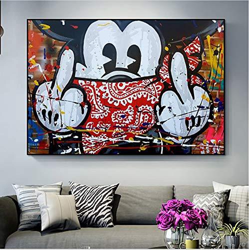 Hao Sai's shop Modular Canvas HD Prints Nordic Cartoon Cute Mickey Mouse Pictures Wall Art Paintings Decoración para El Hogar Carteles para El Marco De La Sala De Estar 40X50Cm Sin Marco
