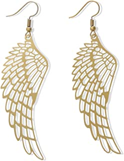 MUZHE Simple Colorful Stainless Steel Hollow Feather Wings Long Earrings for Women Mother's Day Gifts