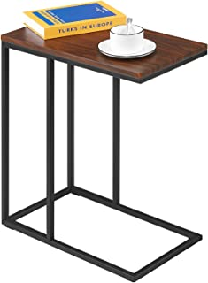 Kealive Sofa Side Table for Coffee or Laptop in Living Room C Shaped Snack End Table for Small Spaces, Modern Accent Couch Side Table with MDF Board PVC Finish and Metal Construction, Brown