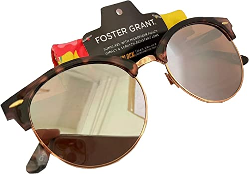 2021 Foster Grant Mirrored Women's Brown Sunglasses with outlet online sale sale Microfiber Pouch outlet sale