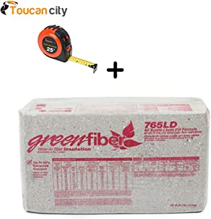 GreenFiber All Borate Cellulose Blow-in Insulation 30 lbs. (36-Pallet) INS765LD and Toucan City Tape Measure – Replacement