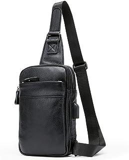 MOOSHiON ボディバッグ ワンショルダー 本革 牛革 ショルダーバッグ 斜めがけ メンズ 軽量 USBポート搭載 iPad mini 収納可 [正規品]