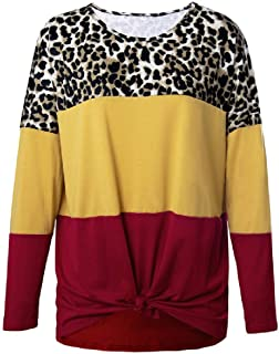 GUOCAI Women's Casual Color Block Tops Long Sleeve Leopard Print Blouse T Shirts