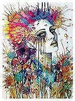 ZLLPRETTYダイヤモンド絵画フルキット、抽象女性、数字によるモザイク絵画用のラウンドダイヤモンド、壁の装飾用のクロスステッチ刺繡、40 * 50CM