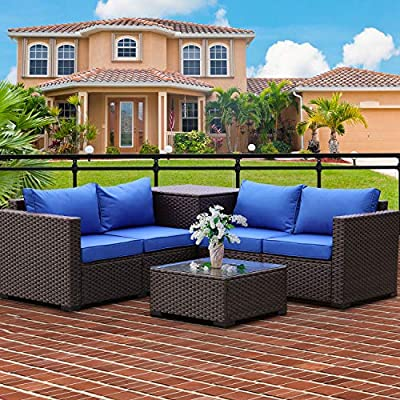 Patio PE Wicker Furniture Set 4 Pieces Outdoor Brown Rattan Sectional Conversation Sofa Chair with Storage Box Table and Royal Blue Cushions
