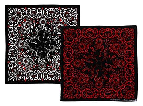 2 Stück Schwarz Weiß Rot Muster Kopftuch Bandana Halstuch