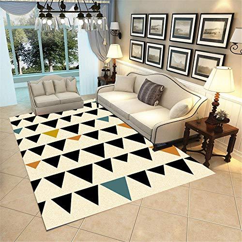 Kunsen Alfombra habitación Matrimonio Alfombra Lavable Moderna geométrica Suave de Pelo Corto Que no se desprende de la...