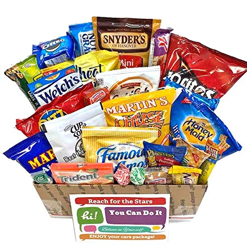 Snack Care Packages with Greeting Card for College Students with Cookies, Candy, Chips, Crackers, Nuts, Bars, Pretzels for Finals, Exams, Mid-Terms, Stress, Get Well, Birthday