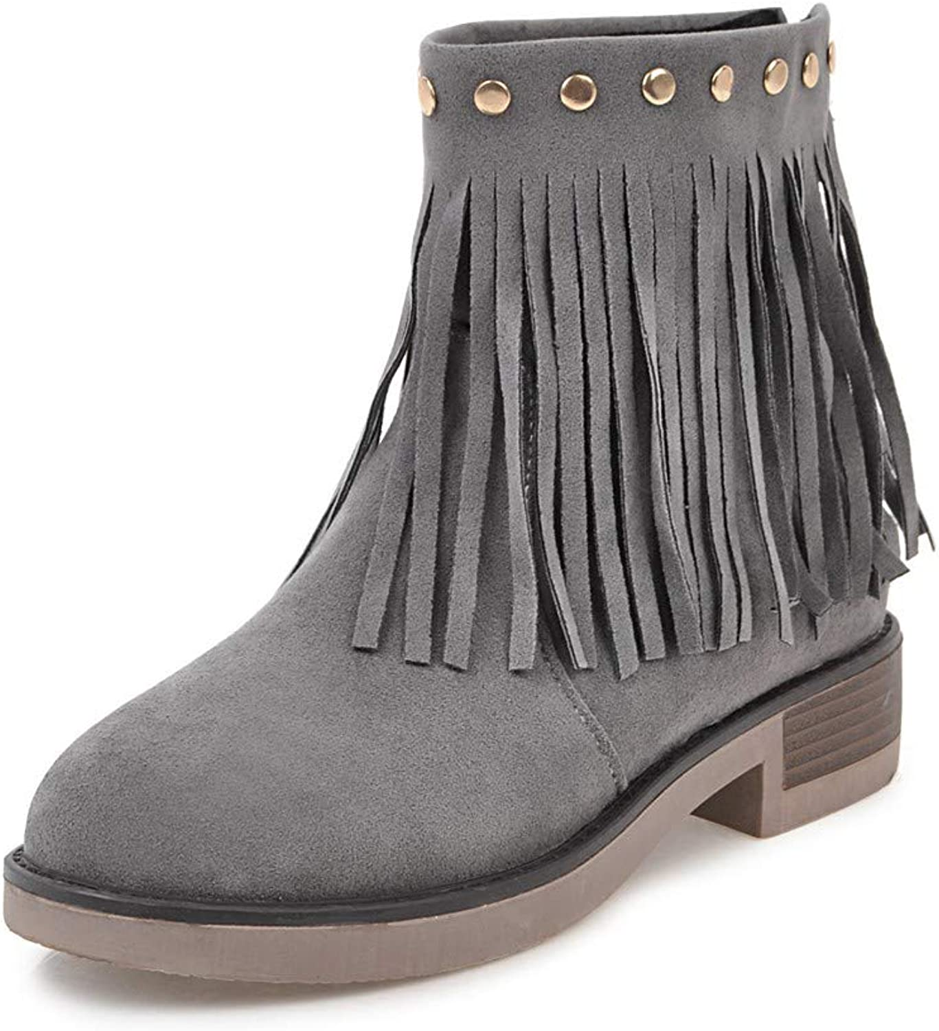 Women's Booties, Thick Heel Zipper Tassel Fashion Ankle Boots Ladies Academy Low-Heel Martin Boots (color   A, Size   40)