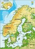 Poster 21 x 30 cm: Skandinavien - Topographische Karte von