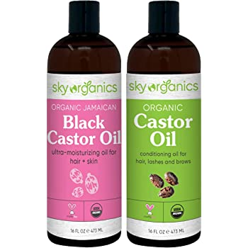 Organic Castor Oil (16oz) + Organic Black Castor Oil (16oz) - 100% Pure Hexane-Free Castor Oil - Conditioning & Healing, For Dry Skin, Hair Growth - For Skin, Hair Care, Eyelashes - Caster Oil