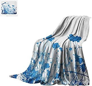 Luoiaax Abstract Warm Microfiber All Season Blanket Silhouette of Summer Wildflowers Blooms Grass Garden Foliage Stylized Illustration Summer Quilt Comforter 80