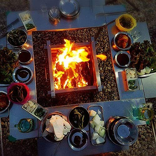 61uCGyy95jL. SL500  - YWSZJ Edelstahl Camping Folding Tragbarer Barbecue Grill Holzkohlegrill Holz Feuer Bonfire Grill Herd