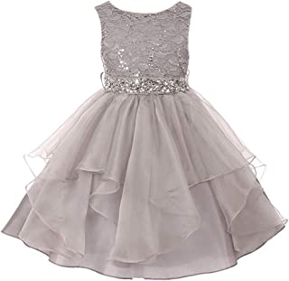 2ecd01d7cd0 Lace Bodice Asymmetric Ruffles Tulle Skirt Rhinestones Flower Girl Dress