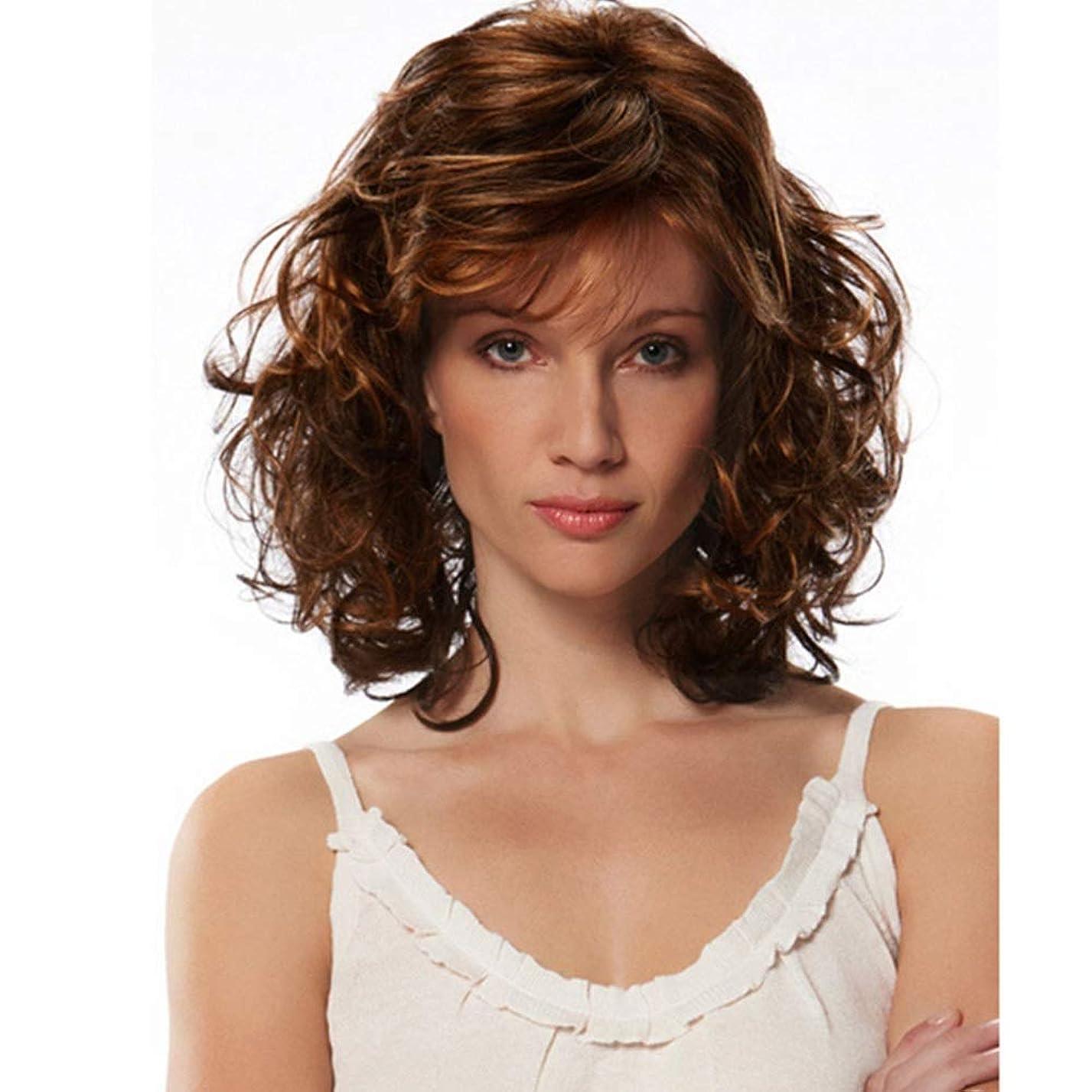 定常ミュート詳細なYrattary 中年の女性のための短い巻き毛の人工フルヘアウィッグ (色 : ブラウン)
