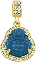 L & L Nation 14K Gold Plated High Fashion Lucky Smiling Buddha Charm Pendant Green Red White Black Blue On Mariner Chain