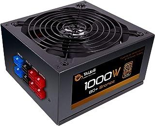 Talius 1000W 80 Plus Bronze, Fuente de alimentación Gaming Semi Modular con Control PFC, Cables mallados, Color Negro