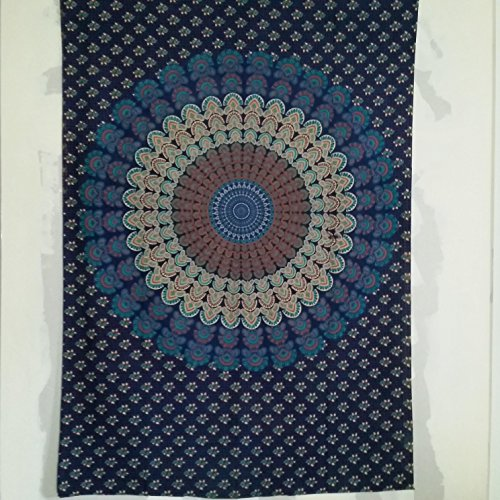 Schabanag Batik-Tuch Wandbehang, Tagesdecke, Baumwolltuch, Strandtuch, 140 x 200, blau,weiß, bunt