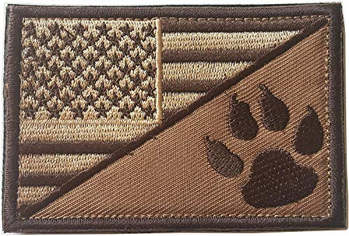 USA American Flag w/Dog Tracker Paw Embroidered Applique Morale Hook & Loop Patch (Browm)