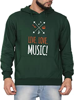 Swag Swami Unisex CottonLive Love Music and Musical InstrumentsPrinted Hoodie | Hooded Sweatshirt