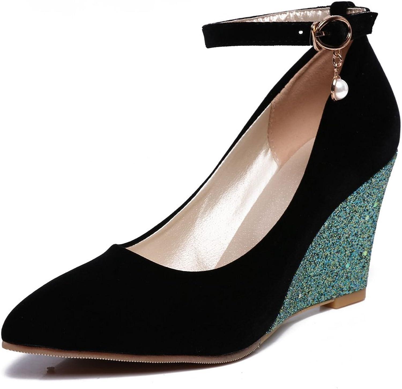 SaraIris Women's Fashion Wedges Glitter Decoration Buckle Strap Pumps shoes