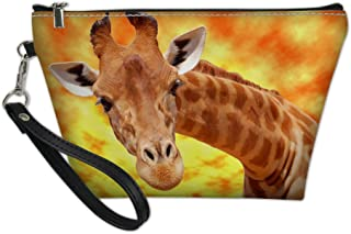 Showudesigns Giraffe Cosmetic Case Holder Women Toiletry Kit Makeup Bag with Removable Strap