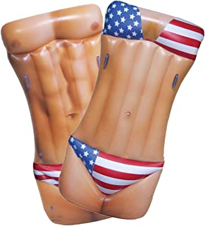 Jet Creations Inflatable Hunk / Girl Dual Side Float Patriotic USA floatie ridable Blow up Summer Beach Swimming Pool Party Lounge raft Decorations Toys Kids Adults 72 inch FUN-HOT02