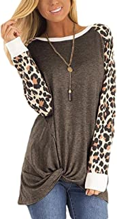 Womens Leopard Print Stitching Kink Long Sleeve Pullover T Shirt