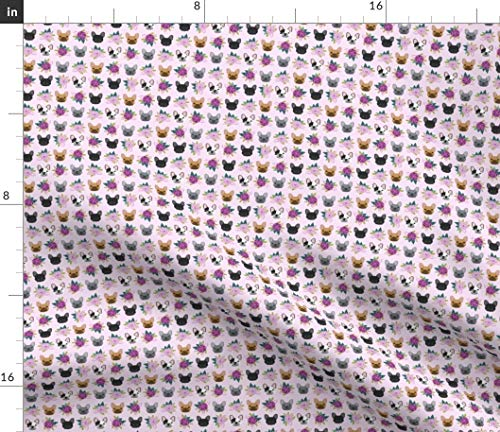 Spoonflower Fabric - Mini French Bulldog Frenchie Florals Purple Print Micro Tiny Dogs Printed on Petal Signature Cotton Fabric by The Yard - Sewing Quilting Apparel Crafts Decor