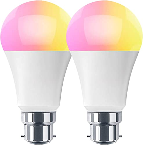 HaoDeng Smart LED WiFi Light Bulb 2 Pack -Timer & Sunrise & Sunset - 60W Equivalent(7W) B22,Dimmable,Multicolor,Warm ...