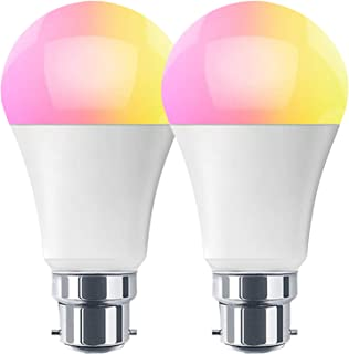 HaoDeng Smart LED WiFi Light Bulb 2 Pack -Timer & Sunrise & Sunset - 55W Equivalent(7W) B22,Dimmable,Multicolor,Warm Whit...