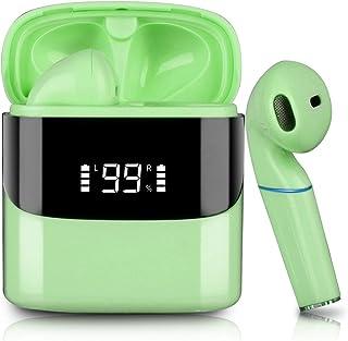 Audifonos Bluetooth Inalambricos, Sendowtek in-Ear Mini Audífonos Inalámbricos Bluetooth 5.0, Audífonos Bluetooth Deportivos con Micrófonos Dual Incorporado HD Estéreo, Reduce el Ruido IPX5 con Caja de Carga para IOS/Android (Verde)