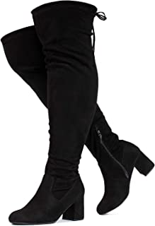 Details about  /Womens Over Knee Boots Suede Stretchy Riding Boots Pointed Toe Plus size 4-10.5