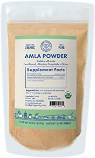 Pure Indian Foods Organic Amla Powder, 8 oz, Water-Soluble Amalaki, Ayurveda Dietary Supplement Dissolves Completely in Wa...