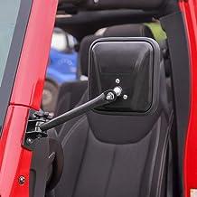 JeCar Side Mirrors Quick Release Doors Off Mirrors Exterior Accessories for Jeep Wrangler 1997-2006 TJ LJ & 2007-2018 JK JKU, Textured Black, 1 Pair