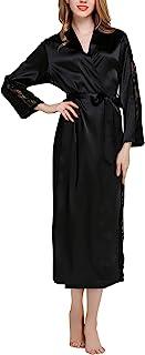 fd9b8f5bdc1cc Dolamen Kimono Robe Femmes Longue, Femmes Chemises de Nuit Dentelle, Robe  Peignoir en Satin