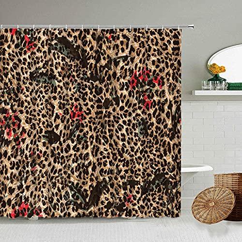 Afrikanischer Stil Leopard Muster Duschvorhang Wild Animal Print Badezimmer Badewanne Dekoration Geschenk wasserdichte Vorhänge Bildschirm-25_90x180cm