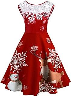 Women's A-Line Dresses Vintage Christmas O-Neck Printed Sleeveless Lace Swing Dress