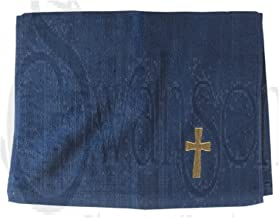 Swanson Christian Pastor Towel Cross Navy with Gold